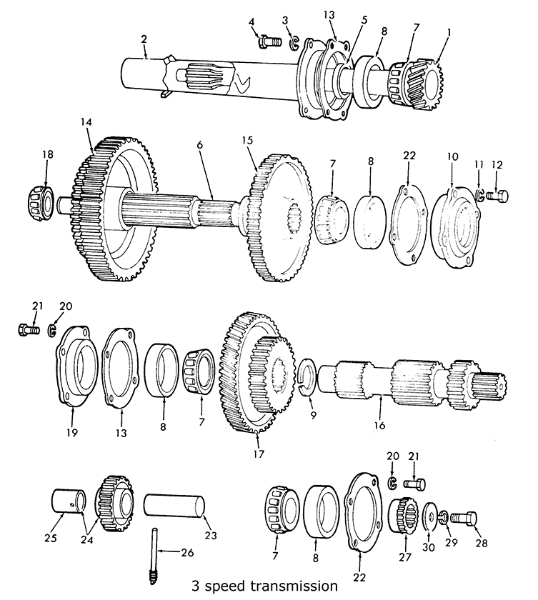 Ford 9N 2N 8N 3 Speed transmission & related