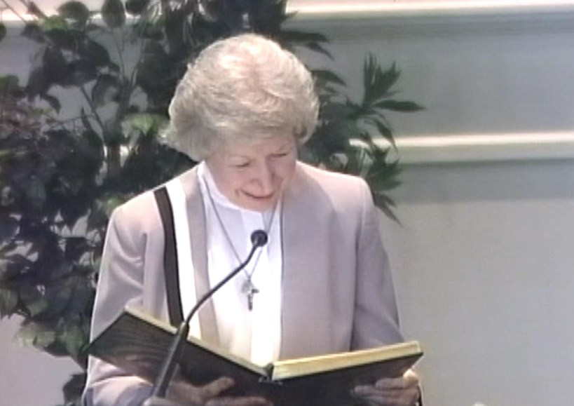 Ewa Jedrychowska reading at Saint Mary's Church, 2011. She reas so beautifully and smiled with grace and love as she spoke the Word. (Screencap from Foxboro cable access broadcast of Saint Mary's Sunday mass)