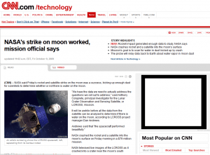 CNN story of NASA Moon Strike October 9, 2009