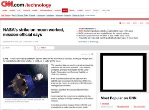 CNN story of NASA Moon Strike October 9, 2009