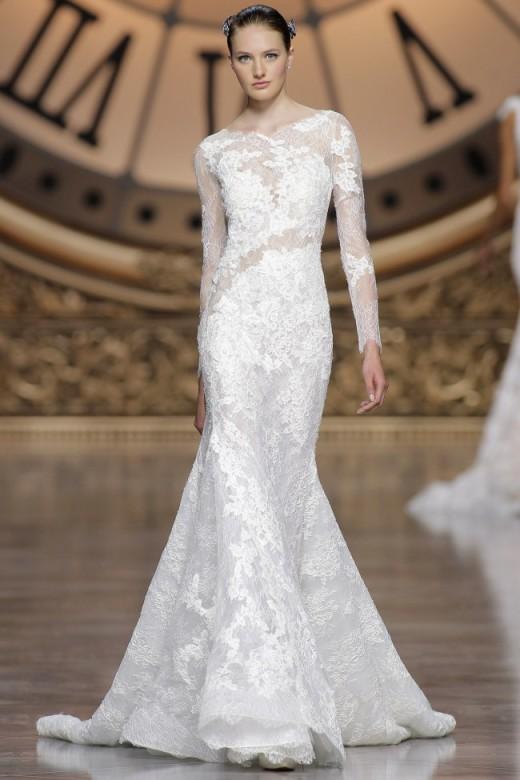 robe de mariée sirène à manche longue en dentelle