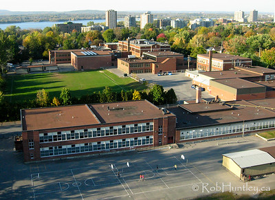 Aerial photograph of Broadview Public School with Nepean High School and the Ottawa River in the background.