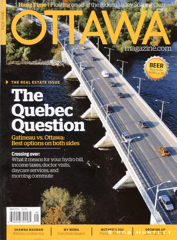 Ottawa magazine uses my aerial image of the Champlain Bridge for their cover photo.