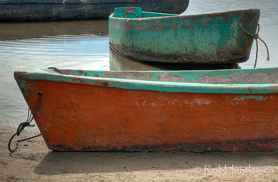 Detail of two small boats at Barra de Potosi, Mexico.