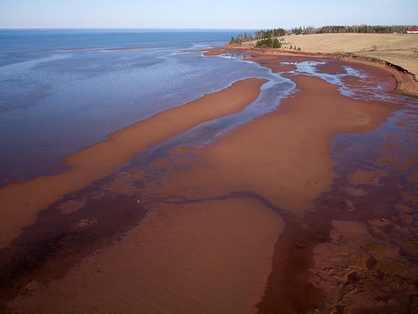 Aerial photograph. Tidal flats along the Northumberland Strait near Bayfield New Brunswick.