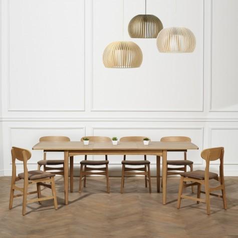 table a rallonges chene vintage 160 a 220 cm dalhia