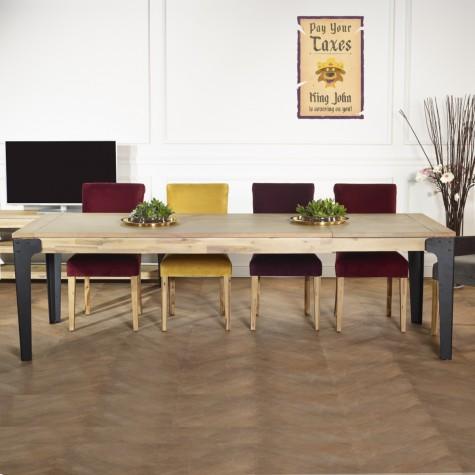 table a rallonges bois et metal 260 cm baltimore