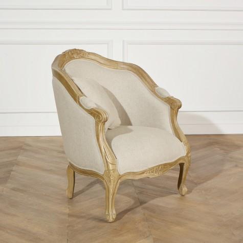 fauteuil robin des bois bergere alexandre bois et lin de style louis xv