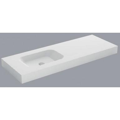 Plan Mural Avec Vasque Deportee Gauche Blanc Mat Code Solid Surface Robinet Co