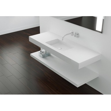Plan vasque mural blanc mat soho solid surface Robinet and Co Plan vasque