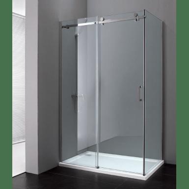 paroi de douche d angle epona avec porte coulissante fixe laterale