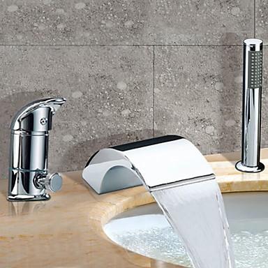 chrome mitigeur robinet cascade baignoire contemporaine generalisee avec douchette