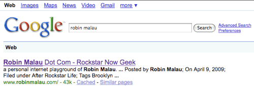 Google Seach Robin Malau