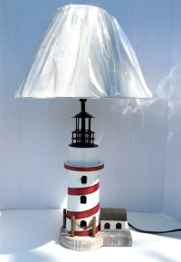 Robin's Dockside Shop - Red_White Lighthouse Table Lamp