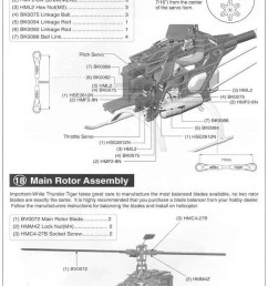 part 2 18 main rotor assembly page 16 19 receiver gryo installation 20 body canopy installation page 17 setting up main rotorblade pitch angle [ 746 x 1104 Pixel ]