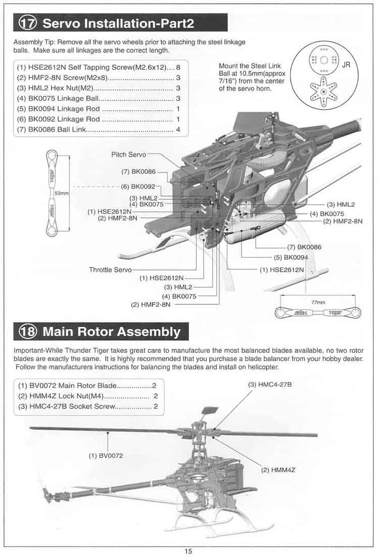 hight resolution of  part 2 18 main rotor assembly page 16 19 receiver gryo installation 20 body canopy installation page 17 setting up main rotorblade pitch angle