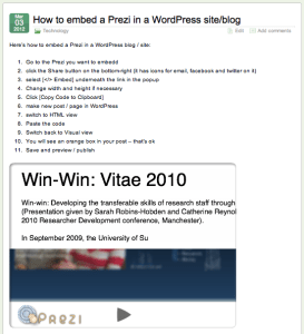 How to embed a Prezi in a WordPress site/blog