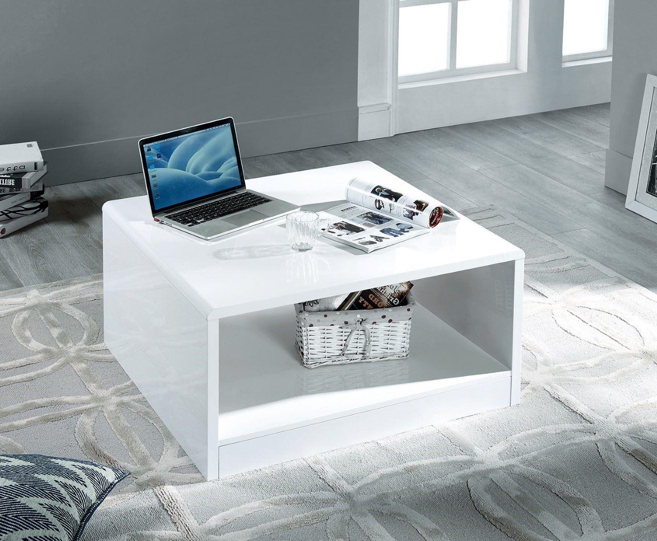 julian bowen manhattan high gloss white square coffee table modern