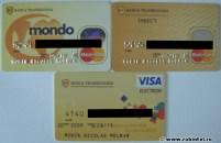 Colecție de carduri (Visa și MasterCard) de la Banca Transilvania
