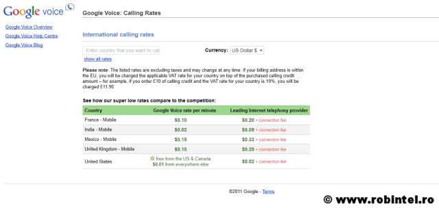 Tarifele telefonice de la Google Gmail