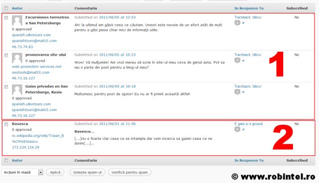 Spam-uri ciudate: 1. Mesaj spam tradus în română; 2. Mesaj spam cu trackback politic
