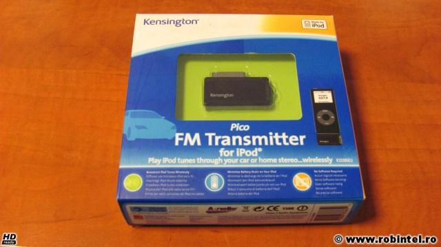 Kensington Pico FM Transmitter pentru iPod, un emițător radio de mică putere pentru radioul din mașină