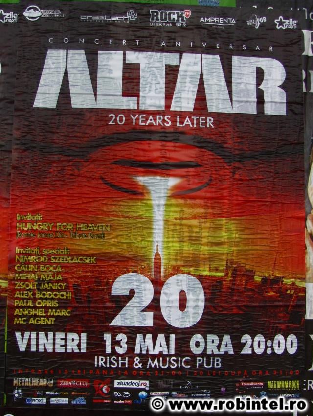 Afiș al concertului aniversar Altar - După 20 de ani (20 years Later) - din Cluj în 13 mai 2011