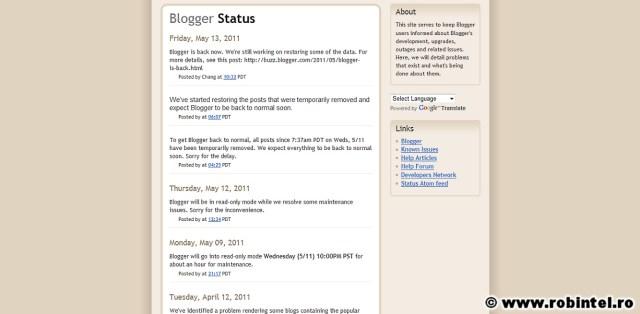 Blogger status: toate site-urile au fost căzute mai multe ore, unele articole au fost șterse și doar o parte au fost recuperate