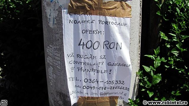 Anunț: Căutăm pisica noastră portocalie. Oferim: 400 RON. Vă rugăm să controlați garajele și pivnițele. Telefon: 0364-105332 sau 0049-176-78626222. locuim pe strada Gorunului 6, scara 1, ap. 3. fam. Costin