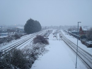 Snow on a rail line