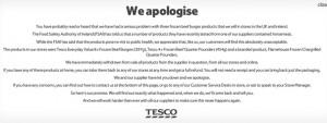 Tesco's online apology