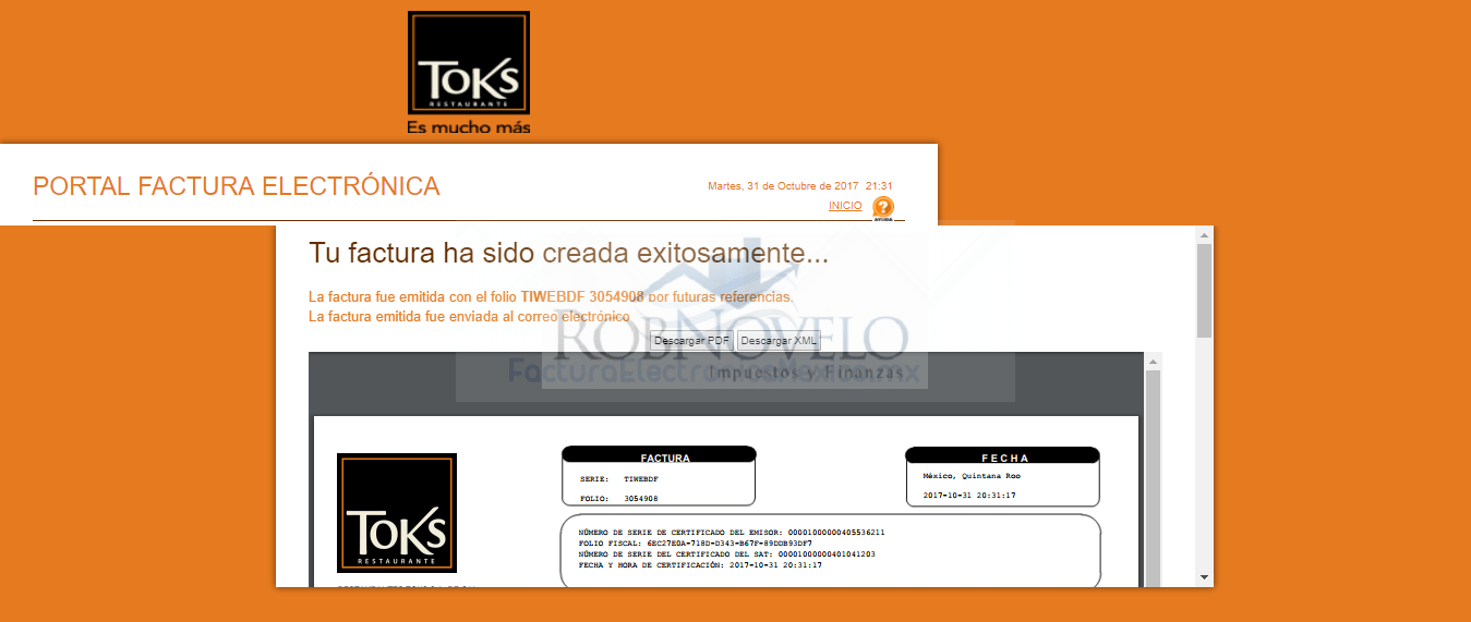 Facturar tickets restaurante toks