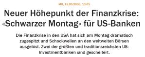 Headline Handelsblatt Finanzkrise