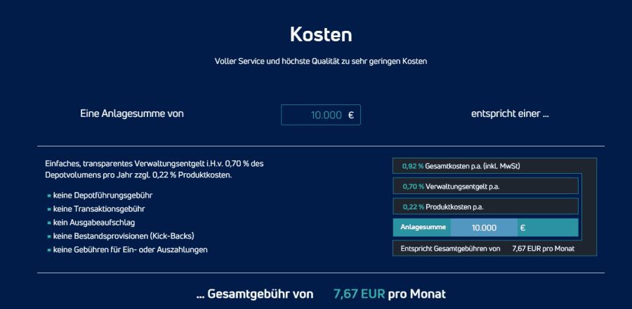 Kapilendo Kostenmodell -digitale Vermögensverwaltung