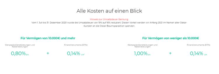 Oskar ETF Sparplan Kostenmodell