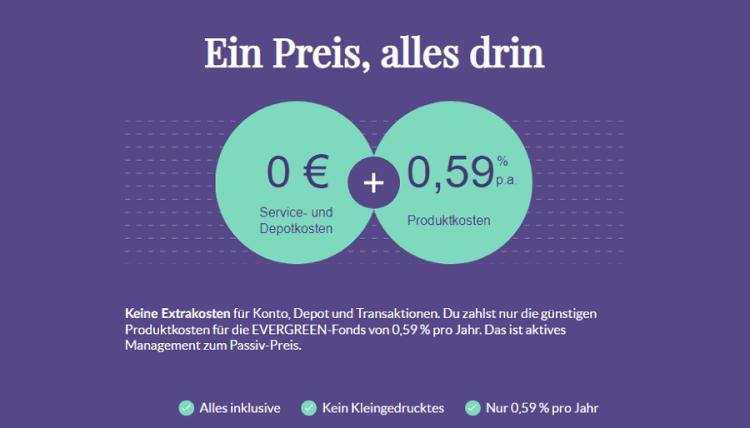 evergreen - Kostenmodel der Online-Vermögensverwaltung