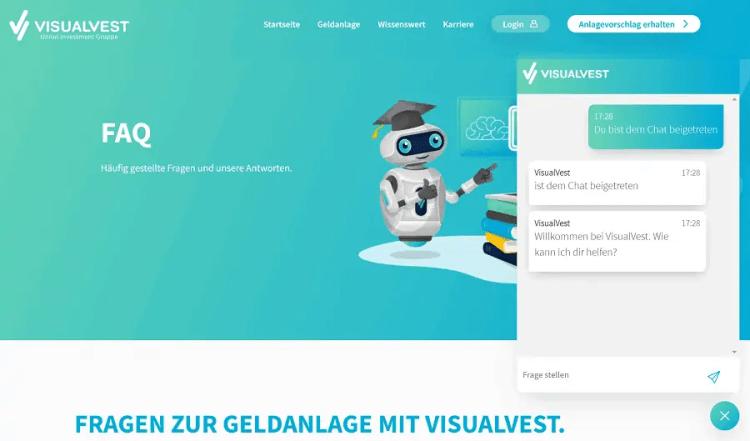 VisualVest Test - FAQ und Service Chat