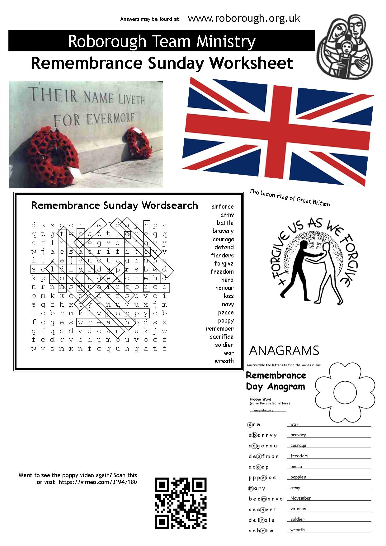 Remembrance Sunday Worksheet And Answers Roborough