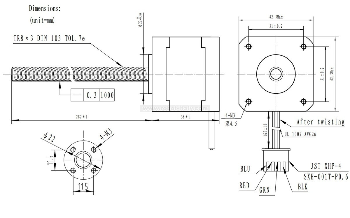 Stepper Motor with 28cm Lead Screw: Bipolar, 200 Steps/Rev