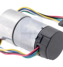 this gearmotor is a powerful 12v brushed dc motor with a 70 1 metal gearbox and an integrated quadrature encoder that provides a resolution of 64 counts per  [ 1200 x 769 Pixel ]