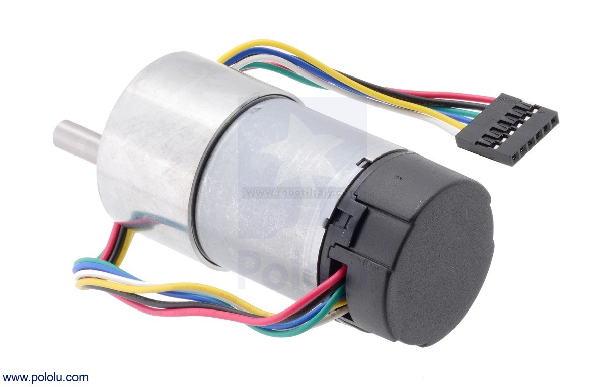 hight resolution of this gearmotor is a powerful 12v brushed dc motor with a 70 1 metal gearbox and an integrated quadrature encoder that provides a resolution of 64 counts per