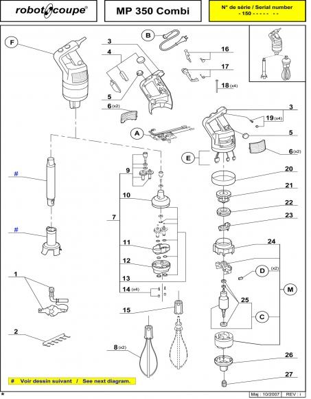 ROBOT COUPE MP 350 COMBI STICK BLENDER POWER MIXER SPARE