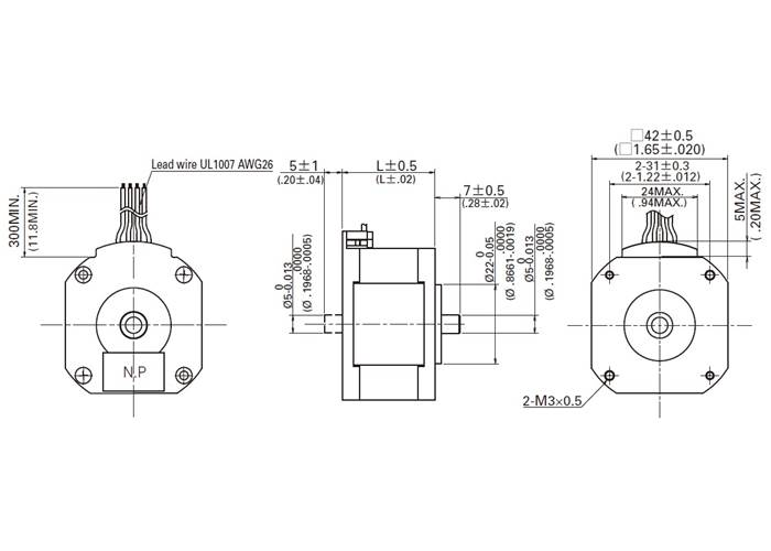 Sanyo Pancake Stepper Motor: Bipolar, 200 Steps/Rev, 42×11
