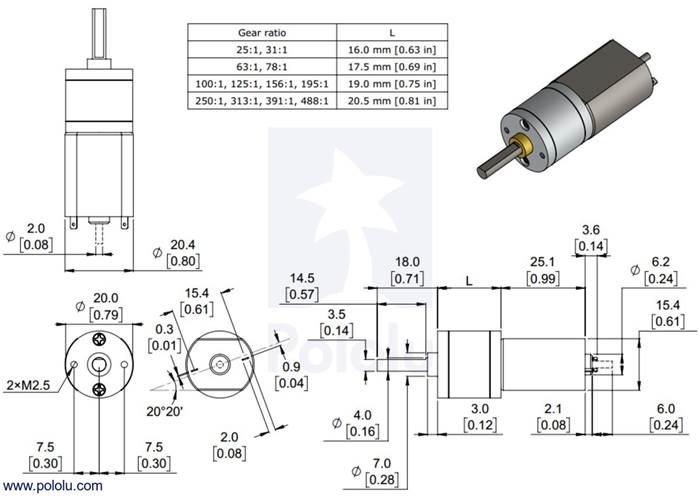 250:1 Metal Gearmotor 20Dx46L mm 6V with Extended Motor Shaft