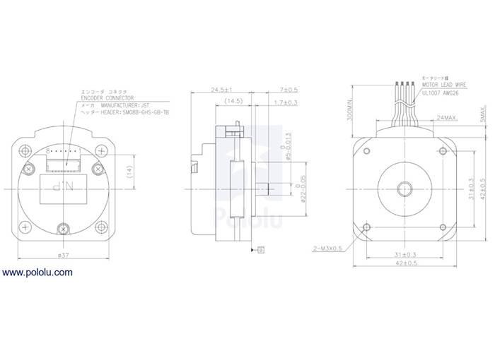 Sanyo Pancake Stepper Motor with Encoder: Bipolar, 200