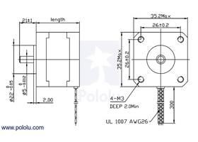 Stepper Motor: Bipolar, 200 Steps/Rev, 35×26mm, 7.4V, 0.28