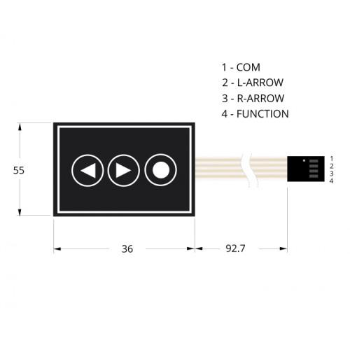 3 Key Arrows + Dot Membrane Switch Keypad