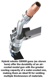 Hybrid robotic GMAW guns (as shown here) offer the durability of an air-cooled model gun with the greater cooling capacity of a water-cooled one, making them an ideal fit for welding multiple thicknesses of materials.