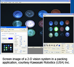 Screen image of a 2-D vision system in a packing application, courtesy Kawasaki Robotics (USA) Inc.