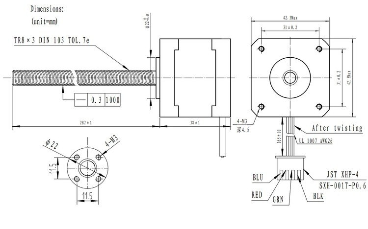 28 cm Vidalı Milli Bipolar NEMA 17 42x38 mm 2.8 V Step